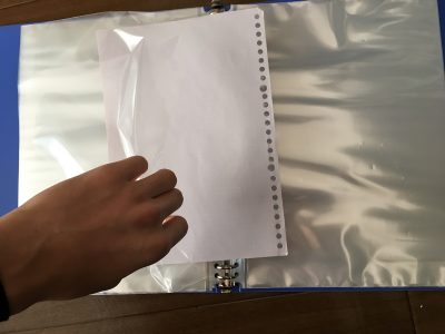 クリアブック、横から紙を入れるタイプ